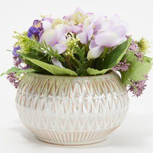 Hydrangea Blossoms and Foliage in Pearlized Pot
